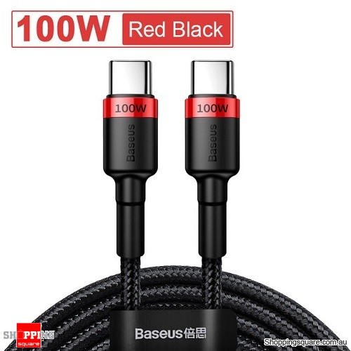 Baseus 2M USB C to USB Type C Cable Quick Charge 4.0 PD 100W Fast Charging - Red Black