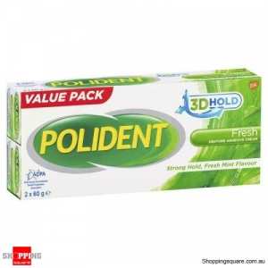 Polident Denture Adhesive Cream 2 x 60g Pack