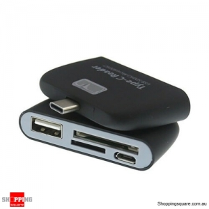 Type-C USB to USB 2.0 Hub SD Micro SD Card Reader Adapter for Type C device - Black