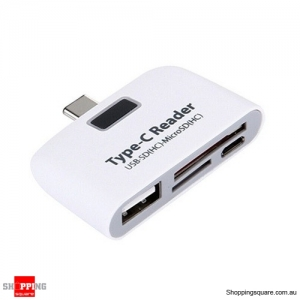 Type-C USB to USB 2.0 Hub SD Micro SD Card Reader Adapter for Type C device - White