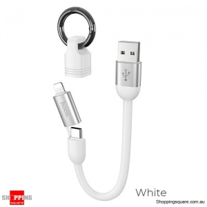 HOCO 2in1 Keychain Mini USB Cable for iPhone 11 Pro X XS max XR Fast Charger Type C Cable for Xiaomi Samsung Galaxy S10 - White
