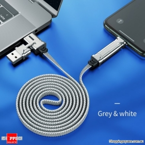 HOCO 4in1 USB Type C Cable 60W Metal PD Fast Charger USB C to Type C Wire for Samsung Xiaomi iPhone11 MacBook Pro Air iPad -Grey
