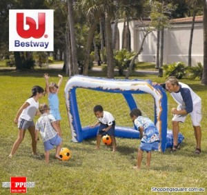 Bestway 2.13M Inflatable Soccer Goal with 2 Balls and Net, Splash and Play