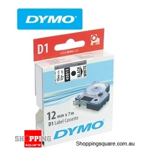 Dymo D1 Labelling Tape 12mm x 7m Black on White