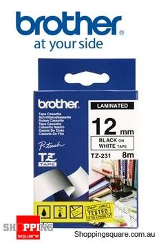 Brother TZ-231 12MMx 8M Black ON White TZ Tape