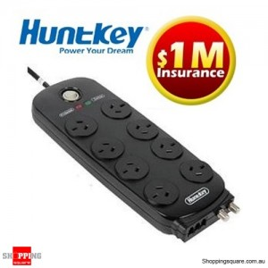 Huntkey 8 Way Surge Protector Power Board, 8 Port Protection