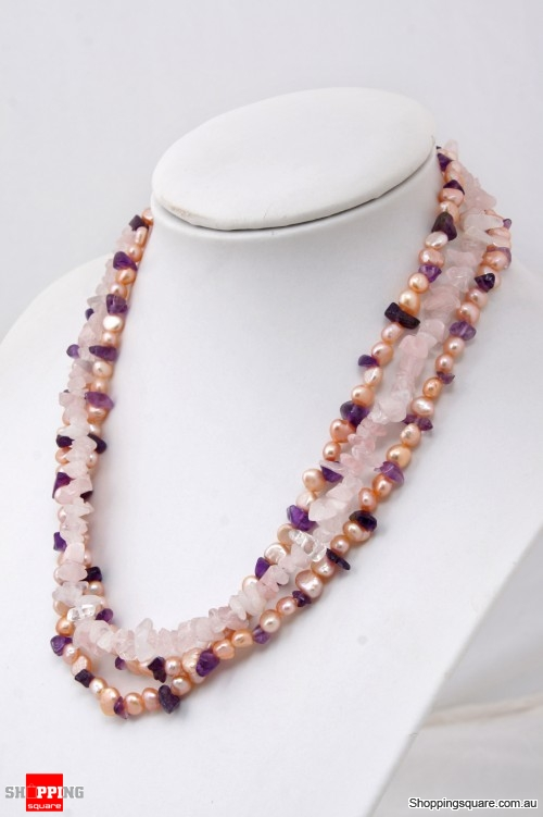 7-8mm Purple Freshwater Pearl with Purple & Pink Crystals Necklace