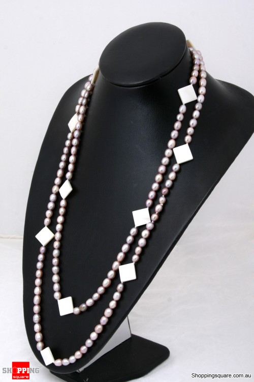 7-8mm Pink Freshwater Oval Pearl with Mother Pearls Shell Necklace