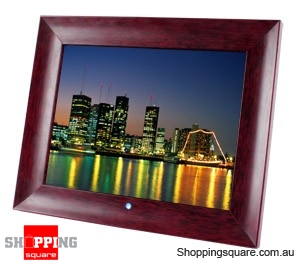 Laser 15 Inch Digital Photo Frame with Wooden Frame Multimedia Playback