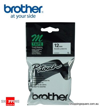 Brother M-K231 12mm Black On White m Tape