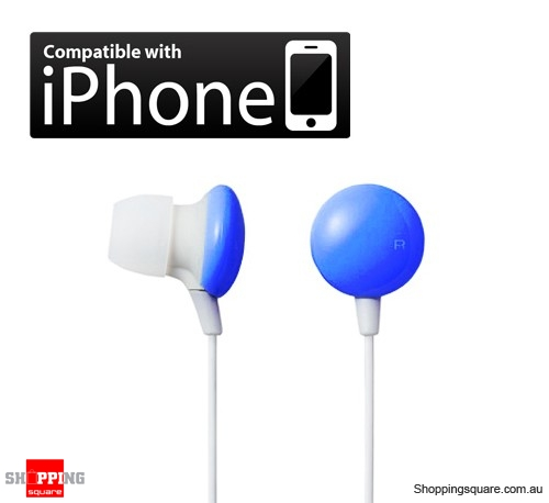 3.5mm Blue color In-Ear Earphone Earbud for iPod iPhone MP3/ MP4