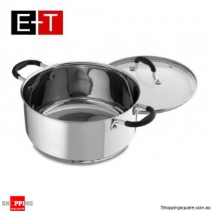 Evans & Taylor Concetto 24 x 11cm Stainless Steel  Casserole With Lid