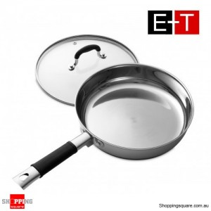 Evans & Taylor Stainless Steel Frypan With Lid 24cm x 5.5cm
