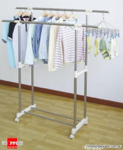 Stainless Steel Double Pole Telescopic Clothes Rack