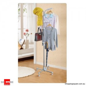 Stainless Steel Portable Clothes Rack Hang Coats, Hats & Bags