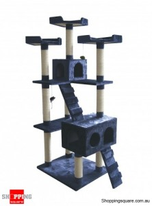 Cat Tree Scratch Post Ladder Pet Bed Cubby House  7 Levels 183cm