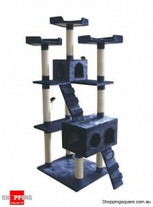 Cat Tree Scratch Post Ladder Pet Bed Cubby House  7 Levels 183cm