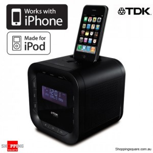 TDK ADS2PBLK iPod/iPhone Speaker Dock Clock Radio Docking Station