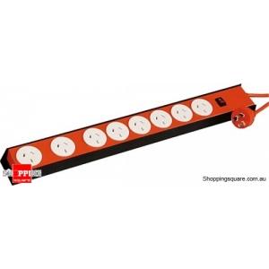 Jackson PT8888 Powertough Metal 8 Way Surge Protected Power Board, Heavy Duty