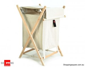 Foldable Laundry Hamper with Lid Canvas Wooden Frame Basket
