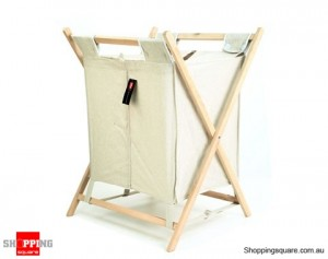 Foldable Double Laundry Hamper with Lid  Canvas Wooden Frame  Basket
