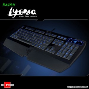 Razer Lycosa Gaming Keyboard, 1000Hz Ultra polling, Gaming cluster, Earphone-out microphone-in jacks, USB 2.0