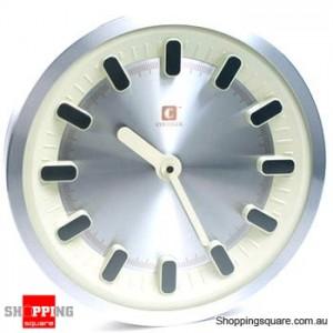 Aluminum Three-dimensional 12'' Wall Clock, Silent Movement (White)