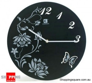 Aluminum Leisure Style 12'' Wall Clock , Silent Movement (Black)