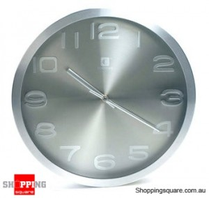 Aluminum 12'' Wall Clock, Silent Movement (Grey)
