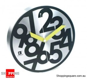 Aluminium Abstraction 12'' Wall Clock, Silent Movement (Black and Sliver)