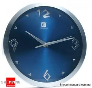 Aluminum 10'' Wall Clock, Silent Movement (Blue)