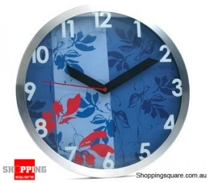 Aluminum Classical Style 12'' Wall Clock, Silent Movement (Blue)