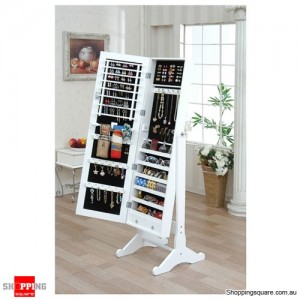 Wooden Mirrored Jewellery Full Length Cabinet - White Colour