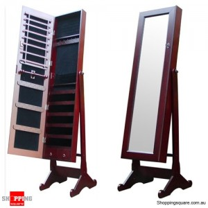 Wooden Mirrored Jewellery Full Length Cabinet - Mahogany Colour