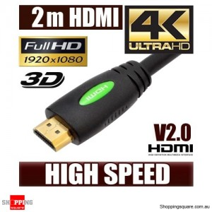 2M HDMI Cable v2.0 3D High Speed with Ethernet HEC 4K Ultra HD Digital Gold Plated