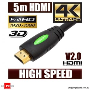 5M HDMI Cable v2.0 3D High Speed with Ethernet HEC 4K Ultra HD Digital Gold Plated