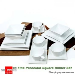 20 Pieces Square Dinner Set, White