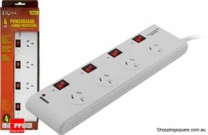 Doss 4 Way Surge Protected Power Board with Individual Switch