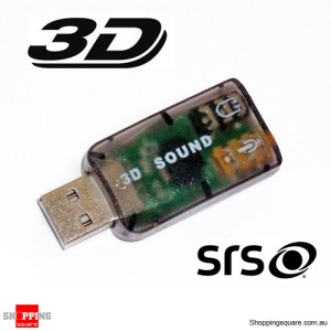 3D Surround Sound USB 2.0 Audio Card Adapter Headphone/MIC