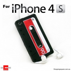 Cassette Tape Silicone Case for iPhone 4 4S Black