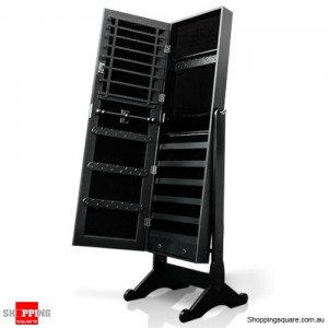 Wooden Mirrored Jewellery Full Length Cabinet - Charcoal Black