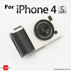 White iCam Simulation Camera Case Cover for iPhone 4 4S 4G