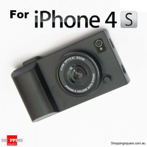 Black iCam Simulation Camera Case Cover for iPhone 4 4S 4G