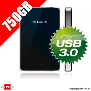 "Hitachi Touro Mobile 750GB Portable Hard Drive 2.5"" USB3.0 - Black"