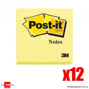 12 x 100 Sheets 3M Post-it 76x76mm Yellow-Per Sheets Per Pad