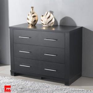 Tall Boy Cabinet Chest Of 3 Drawers Storage- Dark Brown larch