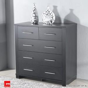 Tall Boy Cabinet Chest Of 5 Drawers Storage- Dark Brown larch