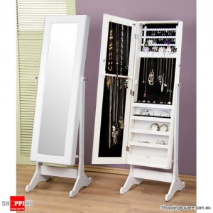 Wooden Mirrored Jewellery Full Length Storage Cabinet- White