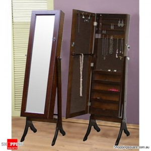 Wooden Mirrored Jewellery Full Length Storage Cabinet- Brown