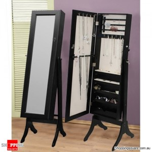 Wooden Mirrored Jewellery Full Length Storage Cabinet- Black